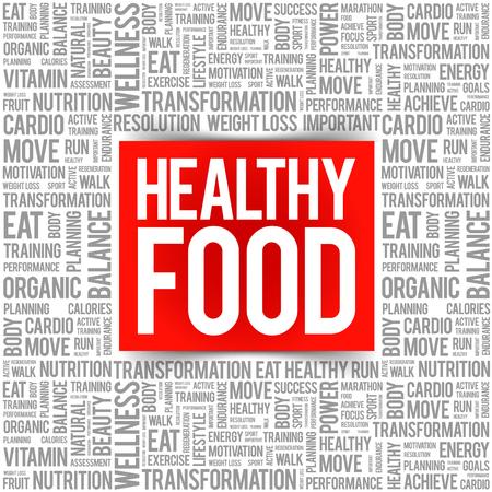 Healthy Food word cloud background, health concept Ilustração Vetorial
