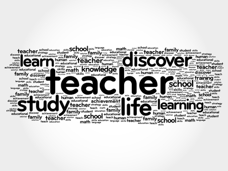 TEACHER word cloud collage, education concept background