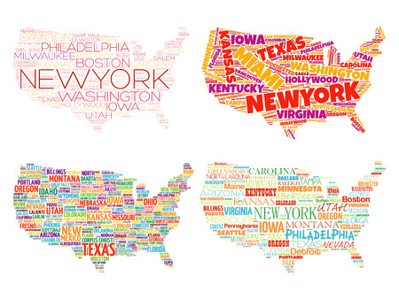 Set of 4 Infographic USA Maps word cloud collage with most important cities in Typography Illustration
