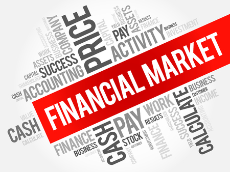 Financial market word cloud collage, business concept background Illustration