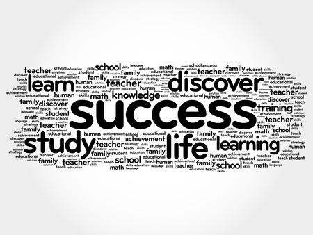 Collage della nuvola di parola di SUCCESSO, fondo di concetto di istruzione