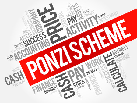 Ponzi scheme word cloud collage, business concept background