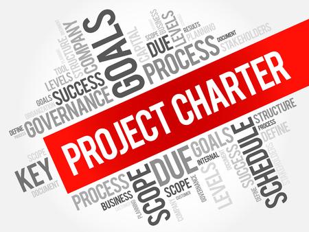 Collage en nuage de mot de la charte de projet, termes commerciaux tels que méthode, processus, fond de concept Vecteurs