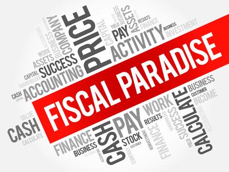Collage de nube de word de paraíso fiscal, fondo del concepto de negocio