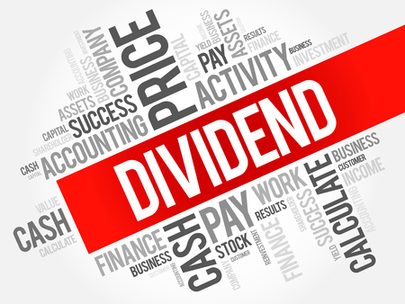 Dividend word cloud collage, business concept background Ilustrace