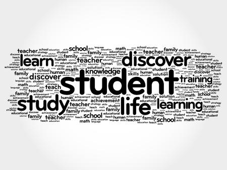 STUDENT word cloud collage, education concept background Ilustración de vector