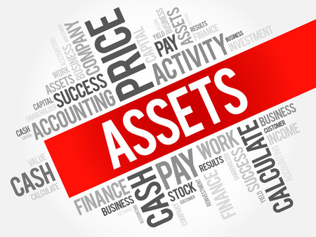 Assets word cloud collage, business concept background