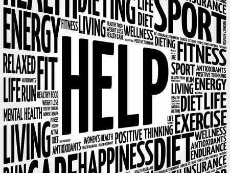 HELP word cloud background, health concept