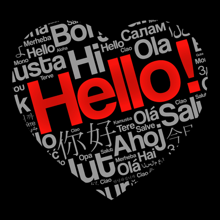 Hello Love Heart word cloud in different languages of the world, background concept