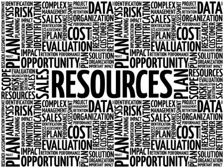 RESOURCES word cloud collage, business concept background Ilustración de vector