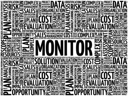 MONITOR word cloud collage, business concept background 向量圖像
