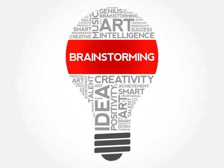 Brainstorming bulb word cloud collage, concept background