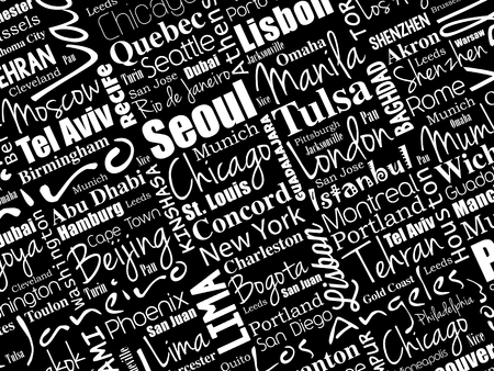 The largest cities in the world word cloud collage, travel destinations concept background Vettoriali