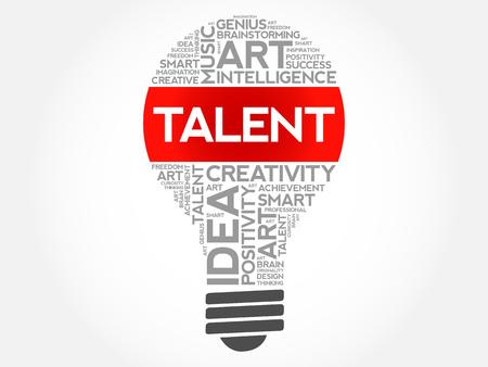Ampoule de talent mot concept cloud background