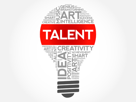 Talent bulb word cloud concept background