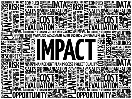 Collage de nube de word de impacto, fondo del concepto de negocio Ilustración de vector