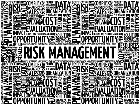 Nube de palabras de gestión de riesgos, concepto de negocio