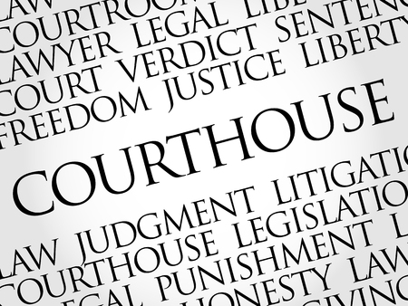 Courthouse word cloud collage, law concept background