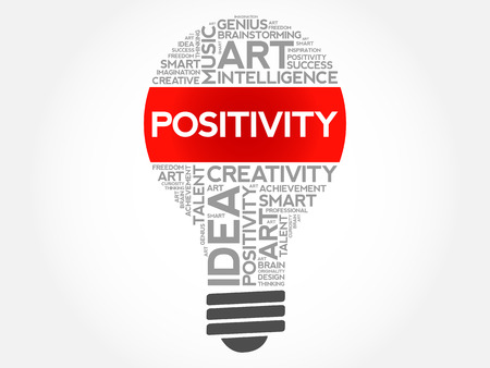 Positivity bulb word cloud collage, concept background