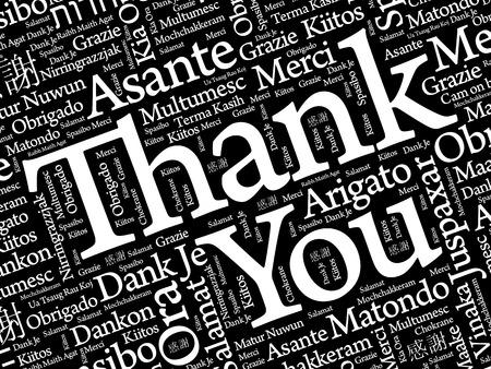 Fondo de gracias Word Cloud, todos los idiomas, multilingüe para la educación o el día de acción de gracias