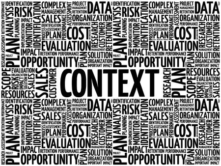 Context word cloud collage, business concept background Vetores