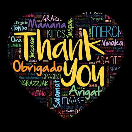 Vielen Dank, dass Sie Herzwortwolke in verschiedenen Sprachen lieben, Konzepthintergrund