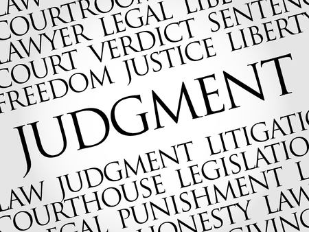 Judgement word cloud collage, law concept background
