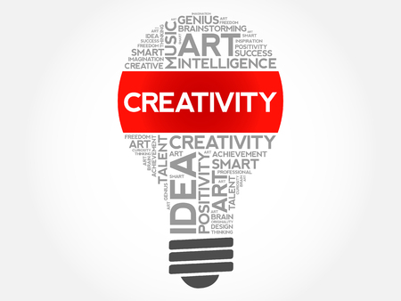 Creativity bulb word cloud collage concept