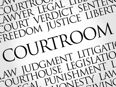 Courtroom word cloud collage, law concept background