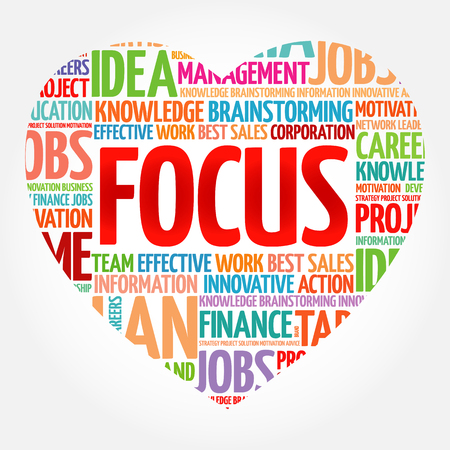 FOCUS heart word cloud collage, business concept background