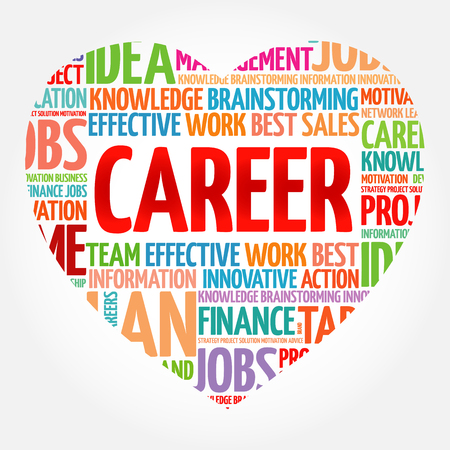 Career heart word cloud collage, business concept background
