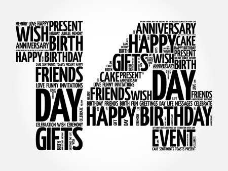 Happy 14th birthday word cloud collage concept