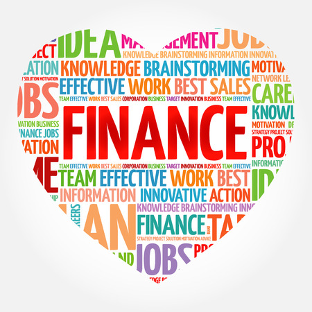 FINANCE heart word cloud collage, business concept background