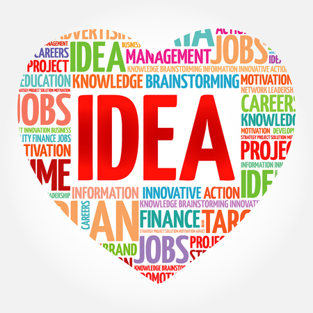 IDEA heart word cloud collage, business concept Vettoriali