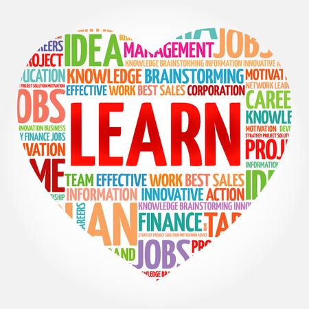 Aprender corazón palabra nube collage, concepto de negocio antecedentes Ilustración de vector