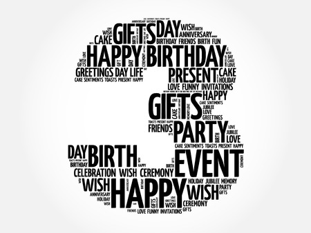 Happy 3rd birthday word cloud collage concept