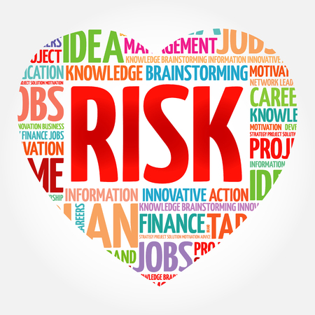 RISK heart word cloud collage, business concept background