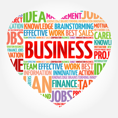 BUSINESS heart word cloud collage, business concept background