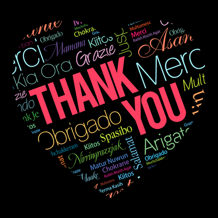 Thank You Love Heart Word Cloud in different languages, concept background