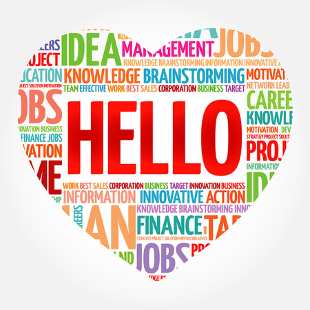 HELLO heart word cloud collage, business concept background