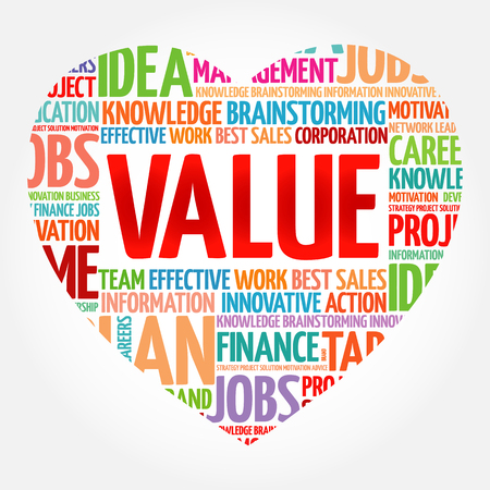 VALUE heart word cloud collage, business concept background Illustration