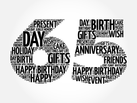 Happy 65th birthday word cloud collage concept