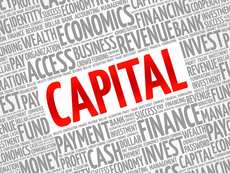 CAPITAL word cloud collage, business concept background Çizim