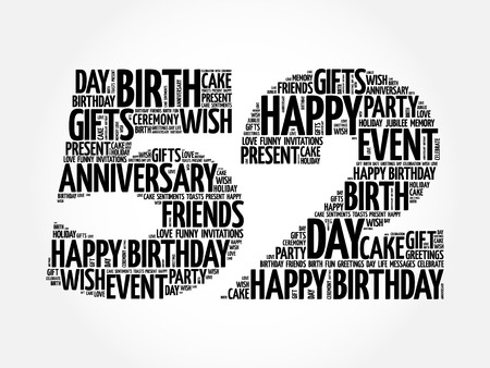Happy 52nd birthday word cloud collage concept