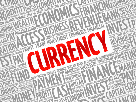 CURRENCY word cloud collage, business concept background