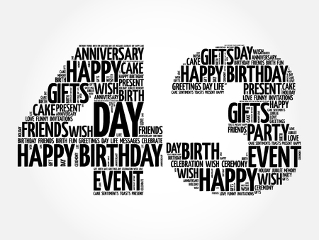 Happy 43rd birthday word cloud collage concept Illustration