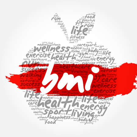 BMI - Body Mass Index, apple word cloud collage, health concept background Stock Illustratie