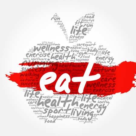 EAT apple word cloud collage, health concept background