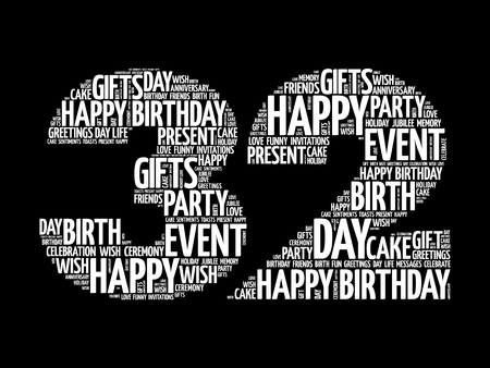 Happy 32nd birthday word cloud collage concept