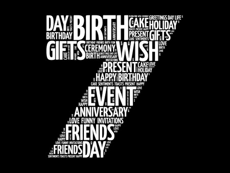 Happy 7th birthday word cloud collage concept Illustration